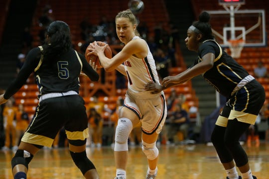 UTEP's Arina Khlopkova goes against FIU defense in the Conference USA opener Thursday, Jan. 2, at the Don Haskins center in El Paso.