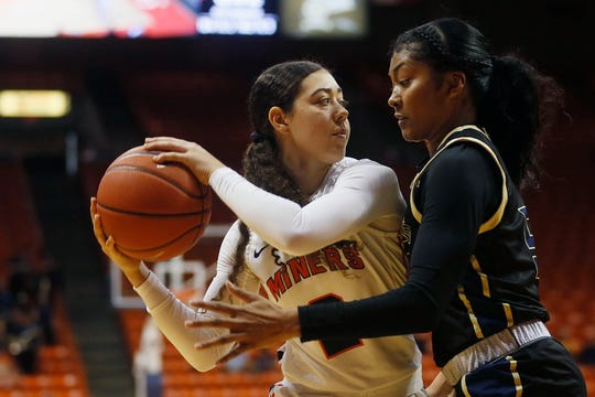 UTEP's Tia Bradshaw goes against FIU defense in the Conference USA opener Thursday, Jan. 2, at the Don Haskins center in El Paso.