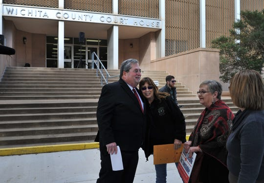 Wichita County chief deputy constable Chris Craig received handshakes hugs, and well-wishes after announcing his run as Wichita County Constable precinct 1, Friday afternoon.