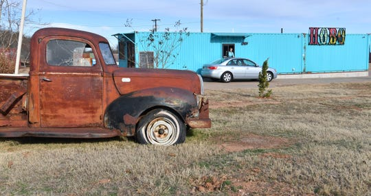 The new Hobo Coffee and Ice Company features an antique truck and a variety of other vintage items that help set a relaxed atmosphere for the business.