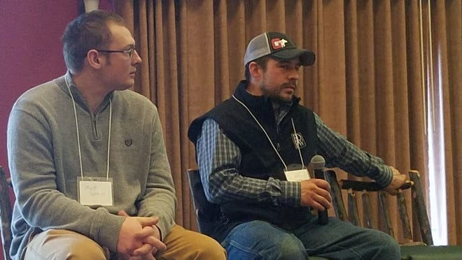 Matt Schmidt, left, and Justin Daniels, both Wisconsin dairy farmers, shared their experiences planting alternative forages and cocktail mixes in an effort to better manage nutrients and increase feed supplies in a challenging year.
