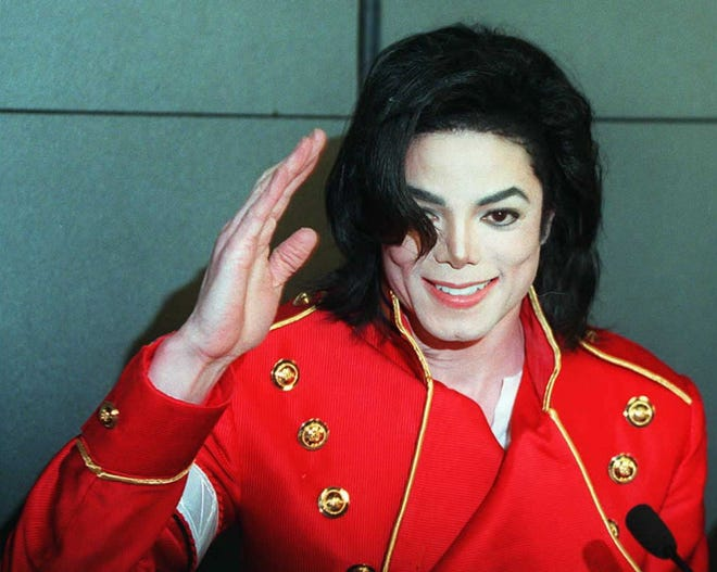 Michael Jackson in March 1996 during a press conference in Paris.