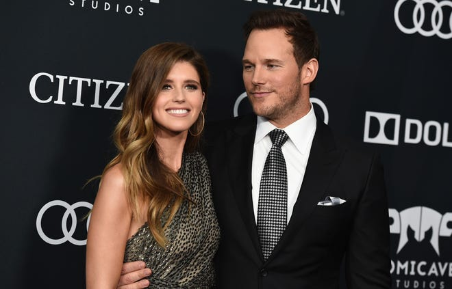 """FILE - In this April 22, 2019, file photo, Katherine Schwarzenegger, left, and Chris Pratt arrive at the premiere of """"Avengers: Endgame,"""" at the Los Angeles Convention Center. In an Instagram post Sunday, June 9, 2019, Pratt announced that he and Schwarzenegger were married the day before in a ceremony that was """"intimate, moving and emotional."""" (Photo by Jordan Strauss/Invision/AP, File) ORG XMIT: NYJK708"""