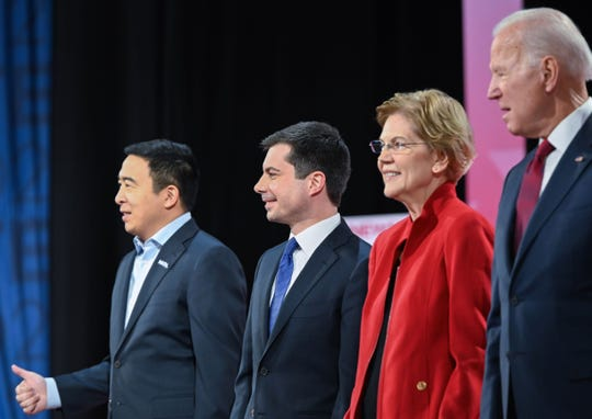 Democratic presidential hopefuls arrive at the Democratic primary debate at Loyola Marymount University in Los Angeles, California on December 19, 2019.