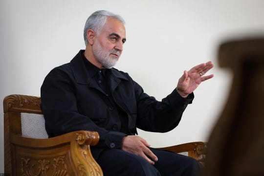 Iranian Revolutionary Guards Corps (IRGC) Lieutenant general and commander of the Quds Force Qasem Soleimani during an interview with a member of the Supreme Leader's office in Tehran, Iran on Oct. 1, 2019 in this handout photo made available by the Iranian Supreme Leader's office.