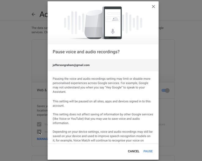 Google's Pop-up window urging users not to opt out