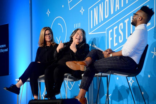 "Katie McGrath, Tina Tchen and KC Ifeanyl on stage at the ""All In: Representation, Inclusiveness and Creativity in Hollywood and Beyond"" panel at the Fast Company Innovation Festival Nov. 6, 2019 in New York City."