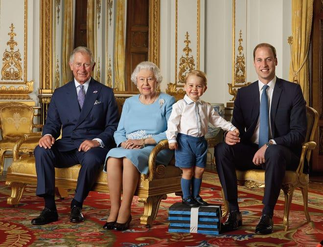 Queen Elizabeth, Charles, William, George pose in rare portrait