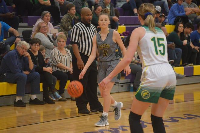 Hicks' Chloe Wilbanks (10) scans the floor during Jan. 3's game against Plainview. Wilbanks is the 2020 All-Cenla girls basketball MVP.