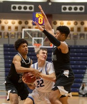 Christian Brothers' John Straley gets double-teamed by St. Joseph's Amari Campbell (left) and Tyree Ford during the Shore Classic Showcase on Saturday, Jan. 4, 2020.