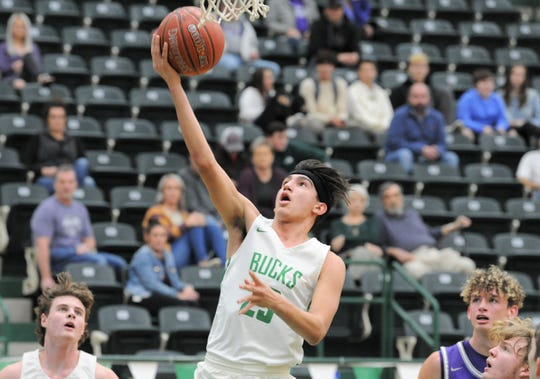 Breckenridge senior Aaryn Medina skies for a layup during a District 7-3A contest against Tolar this season. Medina helped lead the Buckaroos to a 24-win season and is the 2020 Abilene Reporter-News All-Big Country boys basketball Class 3A MVP.