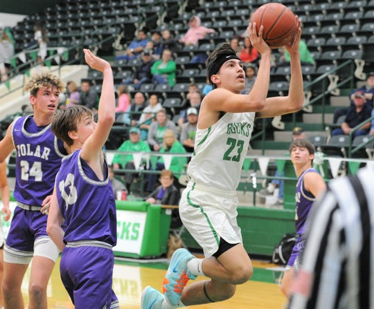 Breckenridge guard Aaryn Medina (23) floats in the lane before a shot against Tolar during a district game this season. Medina averaged 23.5 points, 6.7 rebounds, 3.6 steals and 3.3 assists per game and is this year's Abilene Reporter-News All-Big Country boys basketball Class 3A MVP.