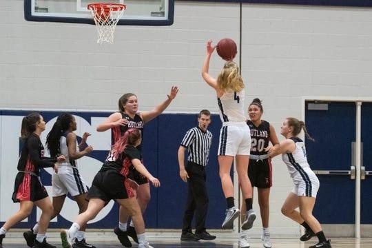 Burlington's Emma Barker (4) shoots the ball during the girls basketball game between the Rutland Raiders and the Burlington Seahorses at Burlington High School on Friday night January 3, 2020 in Burlington, Vermont.