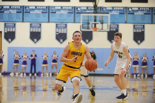 Unioto guard Isaac Little prepares to take a last-second shot at the end of the second quarter during a 56-38 win over Adena at Adena High School in Frankfort, Ohio on Friday Jan. 3, 2020.