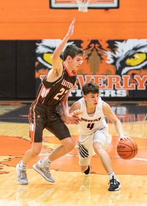 Waverly guard Trey Robertson dribbles the ball in a 67-56 win over Eastern on Friday, Jan. 03, 2020, in Waverly, Ohio.