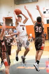 Waverly guard Trey Robertson goes up for a shot in the paint during a 67-56 win over Eastern Pike on Friday, Jan. 03, 2020, in Waverly, Ohio.