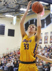 Unioto big man Reece Wheeler goes up for a layup during a 56-38 win over Adena at Adena High School in Frankfort, Ohio on Friday Jan. 3, 2020.