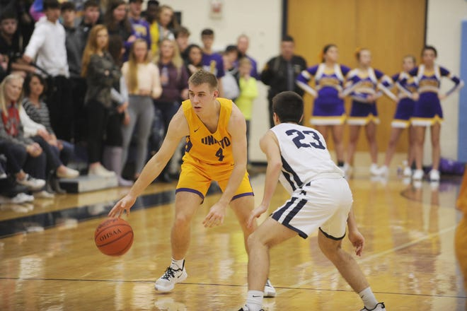 Unioto guard Nate Keiser dribbles the ball during a 56-38 win over Adena at Adena High School in Frankfort, Ohio on Friday Jan. 3, 2020.