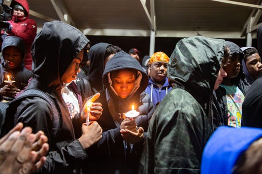 Hundreds gather in Evelyn Davis Park Friday, Jan. 3, 2020 to remember Josiah Woods, 14, who was shot and killed early January 1st.
