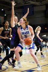 Drake guard Becca Hittner (5) looks for a shot during their basketball game at the Knapp Center on Friday, Jan. 3, 2020, in Des Moines. Drake would go on to defeat UNI 104-87.