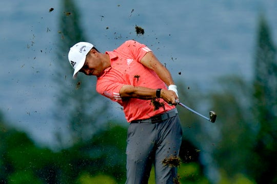 Xander Schauffele hits from the fourth fairway during second round Friday.