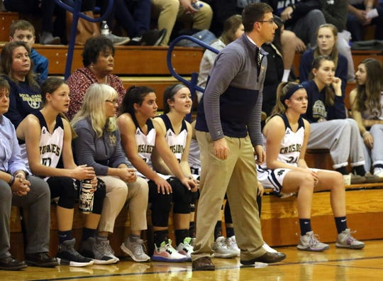 Max Young coaches Elmira Notre Dame in a 57-37 win over Spencer-Van Etten in girls basketball Jan. 3, 2020 at Notre Dame High School.