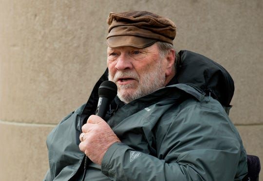 Veterans For Peace Chapter 104 member Gary May address the crowd gathered to protest and raise their voice against war at the Four Freedoms Monument in Evansville, Ind., Saturday afternoon, Jan. 4, 2020.