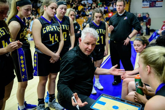 Castle Coach Robert Meier talks to his team before the start of the fourth quarter against the Memorial Tigers at the Robert M Kent Athletic Center in Evansville, Ind., Friday, Jan. 3, 2020. The Tigers defeated the Knights, 63-49.