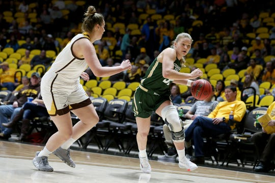 Colorado State forward Andrea Brady drives towards the basket during the game against Wyoming on Saturday, Jan. 4, 2020, inside Auditorium Arena in Laramie.