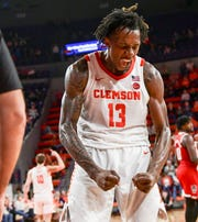 Clemson guard Tevin Mack(13) reacts after making a shot and fouled by N.C. State during the second half at Littlejohn Coliseum Saturday, January 4, 2020.