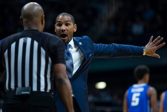 Butler Bulldogs head coach LaVall Jordan shows his frustration on a call with a ref during the game against the Creighton Bluejays at Hinkle Fieldhouse on Saturday, Jan. 4, 2020.