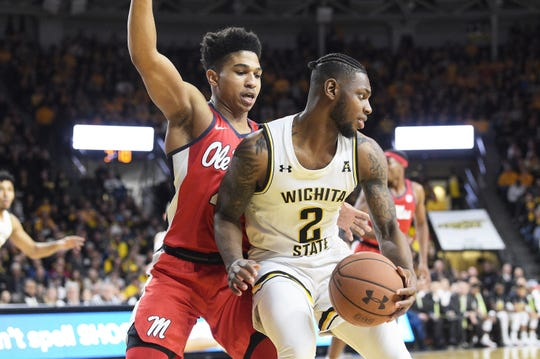 January 04, 2020: Wichita State Shockers guard Jamarius Burton (2) makes a post move during the NCAA Basketball Game between the Ole Miss Rebels and the Wichita State Shockers at Charles Koch Arena in Wichita,Kansas. Kendall Shaw/CSM(Credit Image: © Kendall Shaw/CSM via ZUMA Wire) (Cal Sport Media via AP Images)