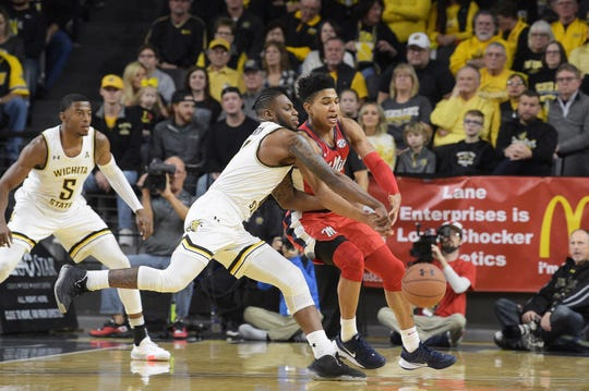 January 04, 2020: Wichita State Shockers guard Jamarius Burton (2) deny's the ball and comes up with a steel during the NCAA Basketball Game between the Ole Miss Rebels and the Wichita State Shockers at Charles Koch Arena in Wichita,Kansas. Kendall Shaw/CSM(Credit Image: © Kendall Shaw/CSM via ZUMA Wire) (Cal Sport Media via AP Images)