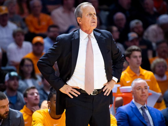 Tennessee Head Coach Rick Barnes during a basketball game between the Tennessee Volunteers and the LSU Tigers at Thompson-Boling Arena in Knoxville, Tenn., on Saturday, January 4, 2020.