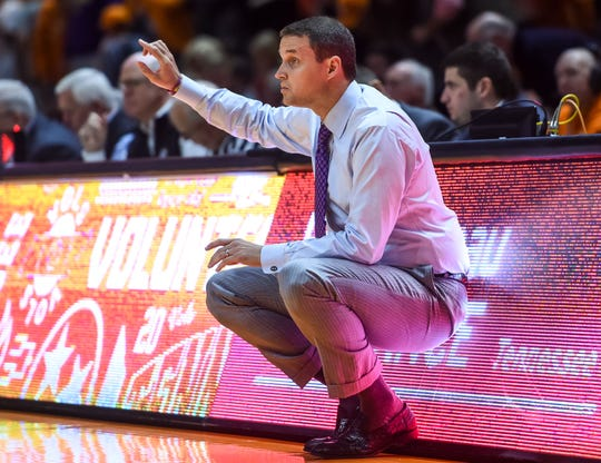 Jan 4, 2020; Knoxville, Tennessee, USA; LSU Tigers head coach Will Wade coaching during the first half against the Tennessee Volunteers at Thompson-Boling Arena. Mandatory Credit: Bryan Lynn-USA TODAY Sports