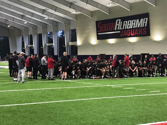 UL coach Billy Napier talks to his team after a practice at South Alabama in preparation for Monday night's LendingTree Bowl in Mobile.