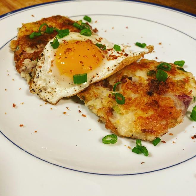 Potato pancakes and eggs.