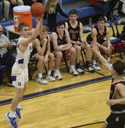 Ontario's Kolten Kurtz makes one of his six 3-pointers in the Warriors' 57-42 win over Pleasant on Friday night.