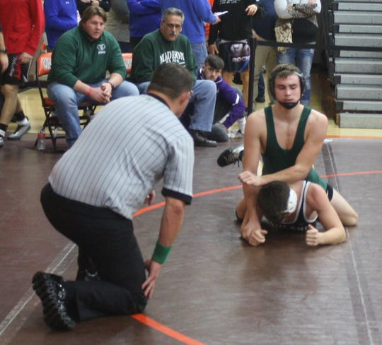 Madison's Nate Barrett is in complete control en route to a 9-0 second round win over Ashland's Johnny Metzger at 160 pounds in the 58th J.C. Gorman Invitational.