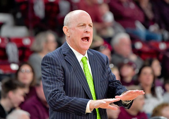 Jan 4, 2020; Starkville, Mississippi, USA; Mississippi State Bulldogs head coach Ben Howland reacts during the first half against the Auburn Tigers at Humphrey Coliseum. Mandatory Credit: Jim Brown-USA TODAY Sports