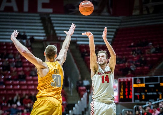 Ball State's Kyle Mallers shoots past Toledo's defense during their game at Worthen Arena Friday, Jan. 3, 2020.