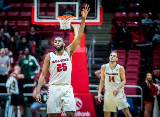 Ball State redshirt senior forward Tahjai Teague looks on during the Cardinals' 61-57 win against Toledo at Worthen Arena on Friday, Jan. 3, 2020.