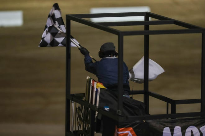 Racers take the track at the World of Outlaws race at Vado Speedway Park in Vado on Friday, Jan. 3, 2020.