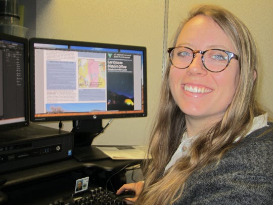 Allie Bettinger, a former BLM intern and now a BLM outdoor recreation planner, helped design some of the Las Cruces District's new brochures for the public.