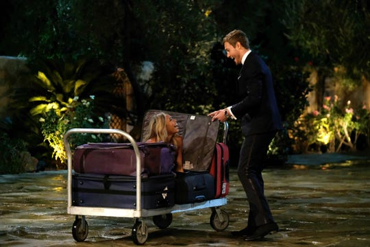 "Kiarra makes her entrance on a luggage cart on Season 24, Episode 1 of ""The Bachelor."""