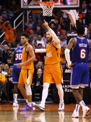 Phoenix Suns center Aron Baynes (46) reacts after making a basket against the New York Knicks in the second half at Talking Stick Resort Arena on Jan. 3, 2020 in Phoenix, Ariz.