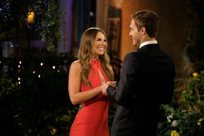 "Hannah B., star of the previous season of ""The Bachelorette,"" greets her ex, Peter Weber, on Season 24, Episode 1 of ""The Bachelor."""