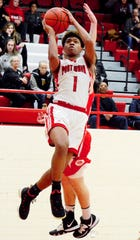 Port Huron's De'Ovion Price shoots against Anchor Bay during a boys basketball game on Friday, Jan. 3, 2020, at Port Huron High School.