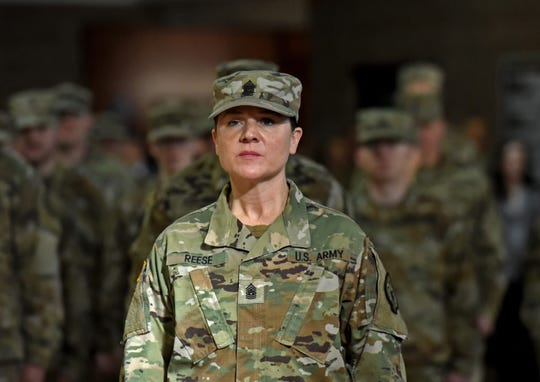 Sgt. Maj. Shauna Reese, with the Nevada National Guard, stands with her battalion during a mobilization ceremony for the 757th Combat Sustainment Support Battalion that will be sent to Poland and Baltic countries to provide logistical support for the U.S. and partner nations. Approximately 70 soldiers will be deployed