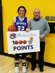 Union County's Madison Gray scored her 1,000th career point in a 47-36 win over Morristown on Friday, Jan. 3, 2020.